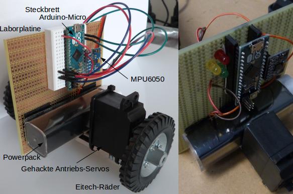 Übersicht links mit Steckbrett ohne LEDs und rechts auf Laborplatine gelötet.