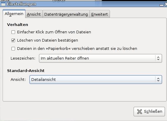 Neue Einstellungen beim Dateimanager