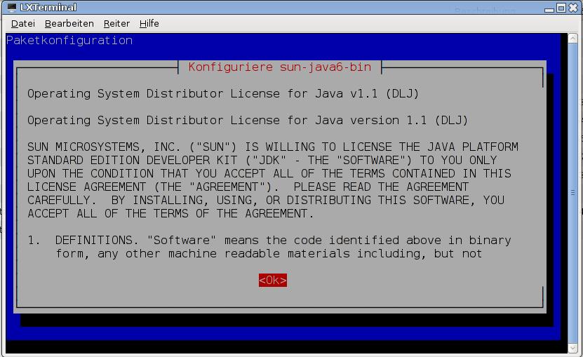 Bestätigung der Lizenz-Vereinbarungen bei der Java-Installation.