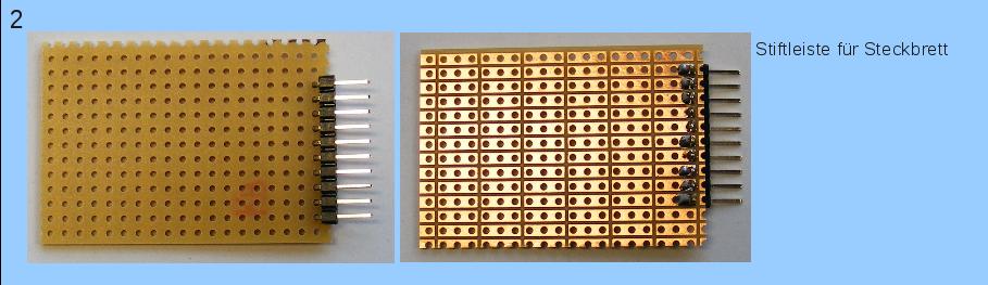 90 Grad gewinkelte Stiftleiste (Stifte mit rechteckigem Querschnitt) zum Anschluß an den Mikrocontroller auf dem Steckbrett.