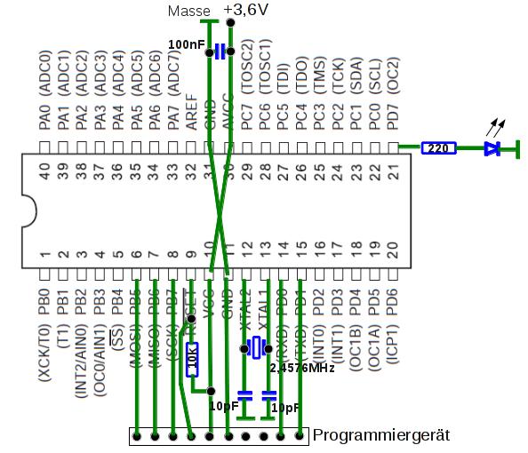 Stromlaufplan der Grundbeschaltung (im realen Aufbau wurden drei Entstörkondensatoren von 100nF eingesetzt).