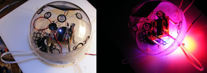 Beispiel für eine der Licht-Klang-Kugeln. Das Design kann individuell variiert werden.