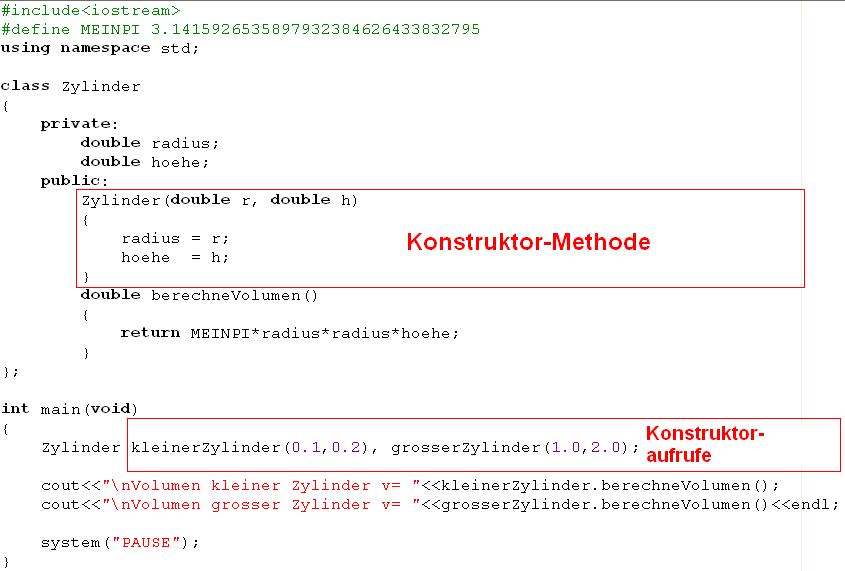 C++ Beispiel mit Konstruktor
