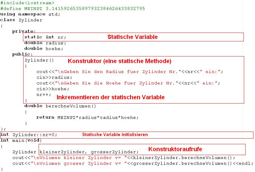C++ Programm mit Konstruktor und statischer Variable nr