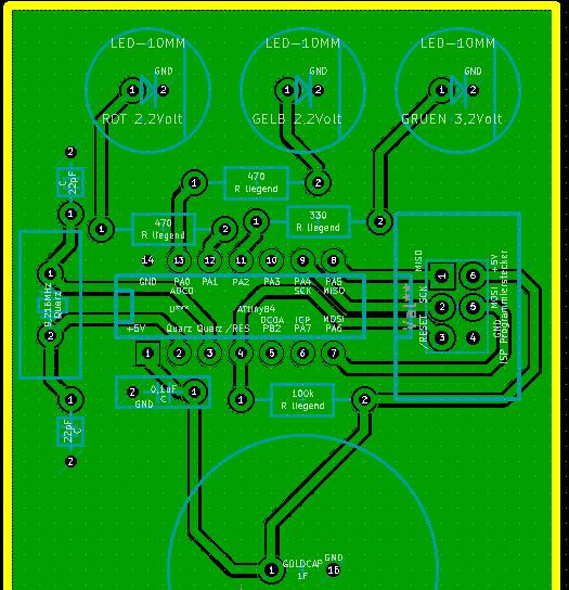Mit KiCad erstelltes Layout einer kleinen Mikrocontroller-Schaltung.