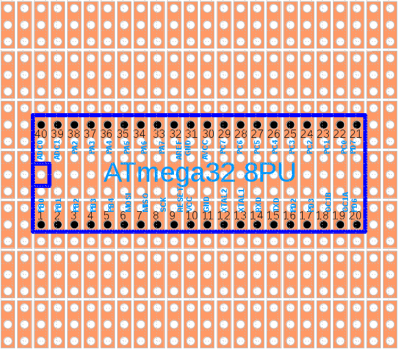 Verwendetes Hintergrundbild mit den Dreierketten-Lochraster und einem bereits eingezeichneten Mikrocontroller.