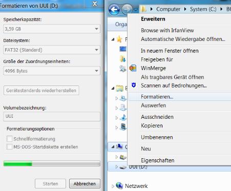 Formatieren des USB-Sticks (Über rechte Maustaste).