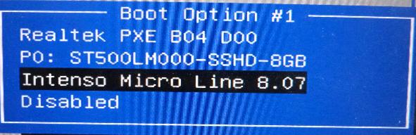 ... USB-Stick auswählen (Identisch zur Anzeige des Bootmenüs!).
