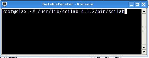 Aufruf von Scilab von der Konsole aus.