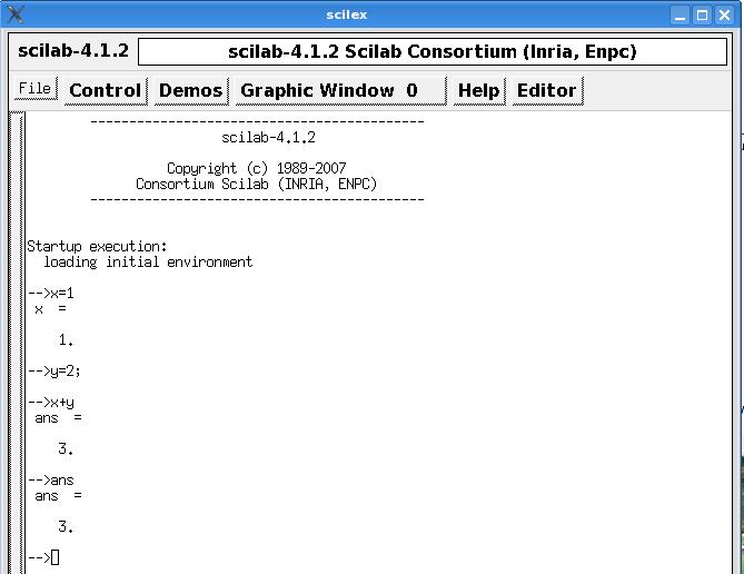 Eingabe und Ausführung von Scilab-Befehlen in die Scilab-Konsole.