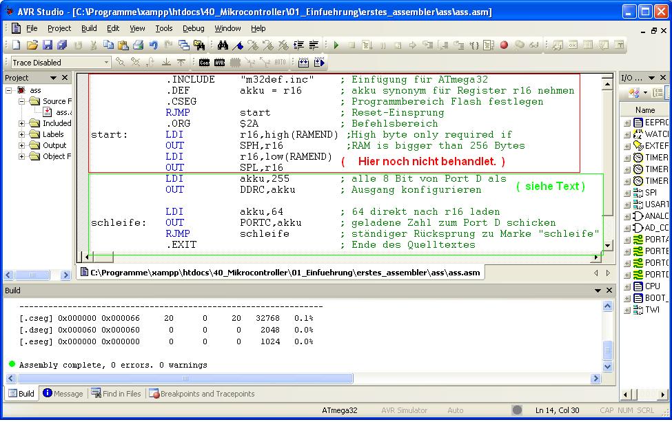 Bild 1.3-4: Assembler-Programm innerhalb der Entwicklungs-Umgebung AVR ...: www.kramann.info/40_Mikrocontroller/01_Einfuehrung/03...