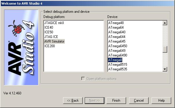 Auswahl des richtigen AVR, hier ATmega8