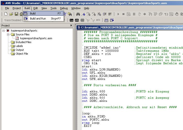 Erzeugen des Hexadezimal-Codes mit dem build-Befehl