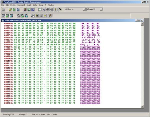 PonyProg2000 mit geladenem Device File
