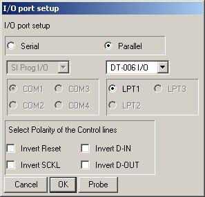 Setup Dialog PonyProg2000