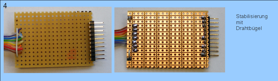 Stabilisierung des Flachbandkabels mit einem Drahtbügel.