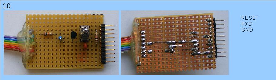 Herstellen der Teilschaltung, die Mikrocontroller-seitig jeweils zu den Pins RESET, RXD und GND geht.