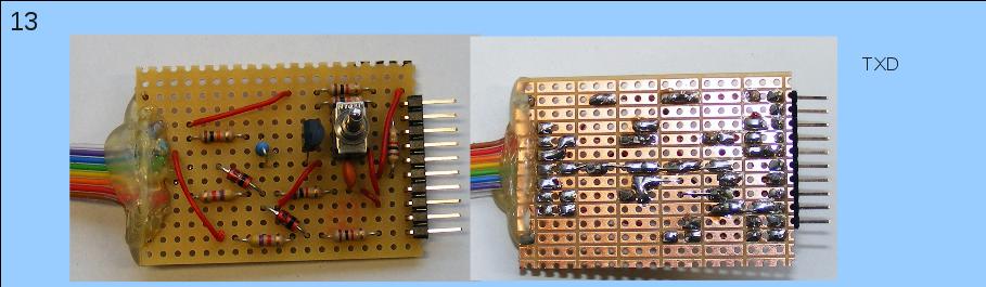 Herstellen der Teilschaltung, die Mikrocontroller-seitig zu dem Pin TXD geht.