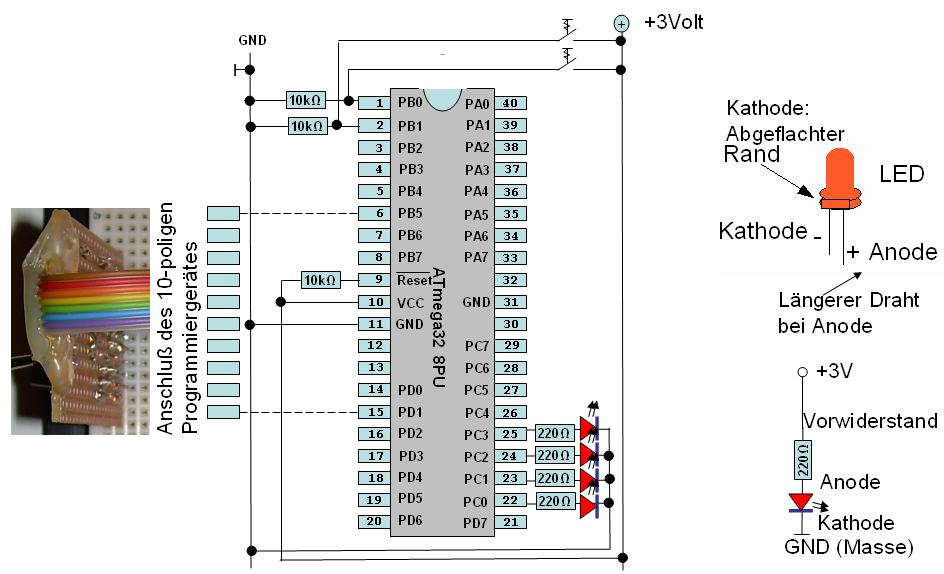 Stromlaufplan für die erste Mikrocontroller-Übung