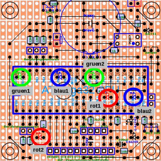 Bezeichnungen der 6 LEDs der Licht-Klangkugel.