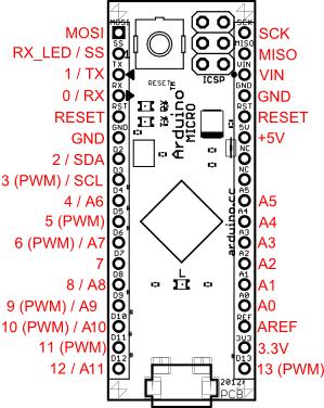 Pinlayout des Arduino-Micro.