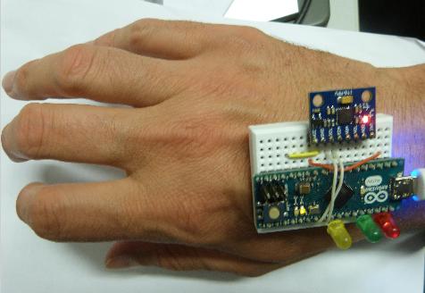 Testschaltung auf dem Handrücken befestigt.