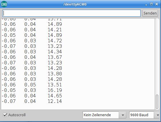 Das Programm liefert die drei orthogonalen Beschleunigungskomponenten auf dem seriellen Monitor.
