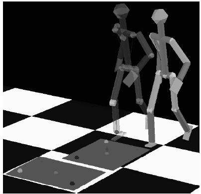 Vergleich zwischen im Raum gemessener Bewegung eines Menschen und der Bewegung des Modells nach Berechnung des Verlaufs der Minimalkoordinaten.