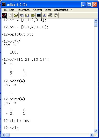Beispielbefehle in Scilab
