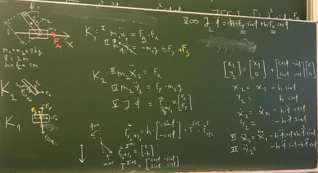 Invertierendes Pendel, dynamische Gleichungen