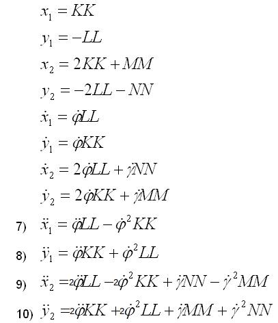 Translatorische Zustandsgrößen mit Minimalkoordinaten dargestellt