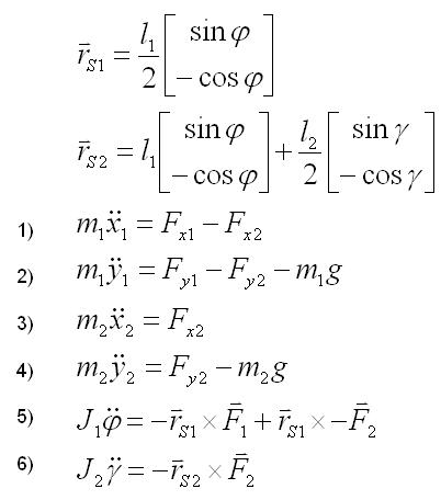 Die sechs Newton-Eulerschen Gleichungen des Doppelpendels