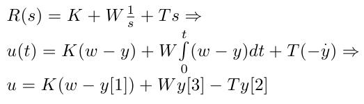 Darstellung des Regelsystems im Zeitbereich (Das y in der dritten Zeile entspricht schon dem Zustandsvektor im Programm und entspricht nur insofern dem y in Zeile 2, als gilt: y in Zeile 2 = y[1] in Zeile 3)