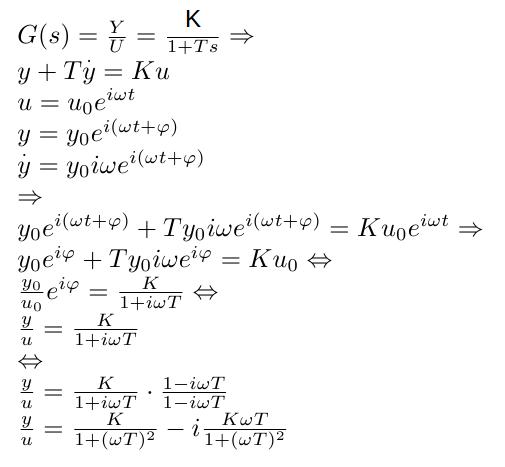 Analytische Bestimmung der Ortskurve zu einem PT1-Übertragungsglied.
