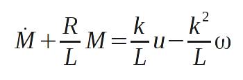 Zusammenhang zwischen resultierendem Antriebsmoment M und Eingangsspannung bei einem Elektromotor.
