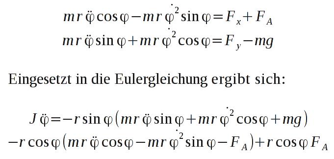 Eliminierung der Zwangskräfte und Darstellung der Modellgleichung nur in Abhängigkeit von &phi.