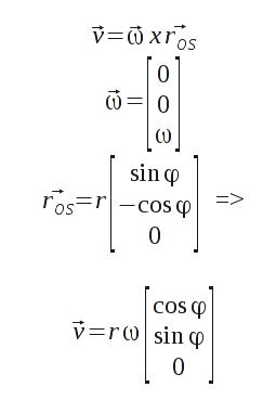 Berechnung der aktuellen translatorischen Geschwindigkeit aus Winkel und Winkelgschwindigkeit beim Pendel (ergibt sich auch bei Zwangsbedingungen).
