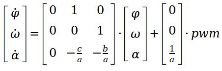 SYSTEM1 - Ergänzung des Winkels φ als Zustand. Entspricht dem Hinzufügen eines Integrationsgliedes im Laplace-Bereich.