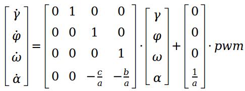 SYSTEM2 - Ergänzung von γ, dem zeitlichen Integral des Winkels φ als Zustand. Entspricht dem weiteren Hinzufügen eines Integrationsgliedes im Laplace-Bereich.