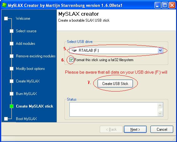 Schritt 5 bis 7 beim Erzeugen eines Live-USB-Sticks (hier RTAI-Linux mit RTAIlab) mit