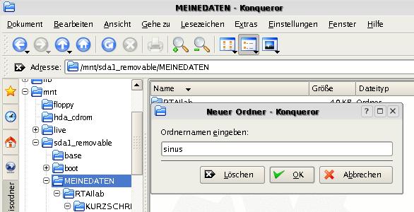 Erstellen eines Ordners, um die im folgenden entsehenden Dateien zu speichern.