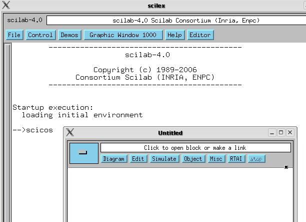 Starten von Scilab und Scicos