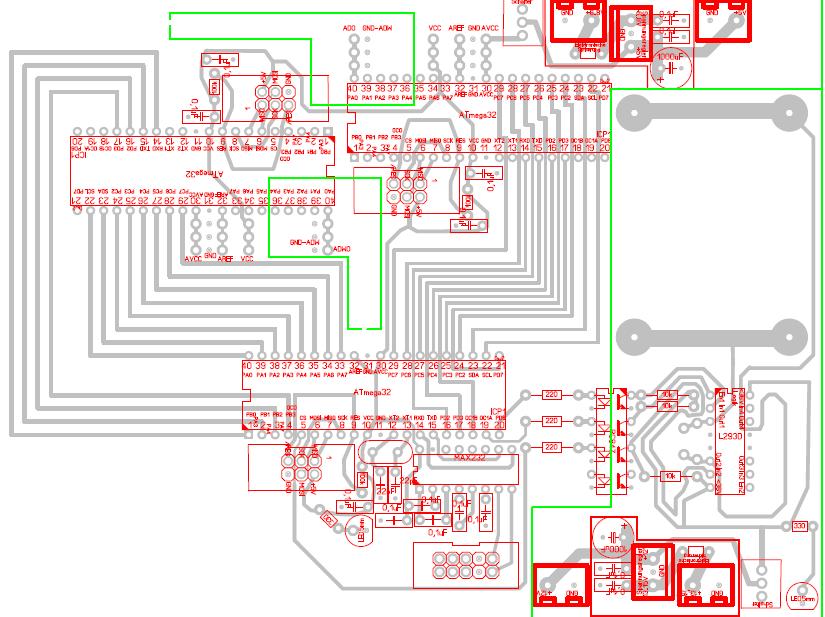 Layout mit zwei Mikrocontrollern zur Erfassung je eines Abstandssignals (oben links und rechts) und eines weiteren zur Verarbeitung der Abstandssignale und zur Generierung eines PWM-Stellsignals für den Laufkatzenmotor.