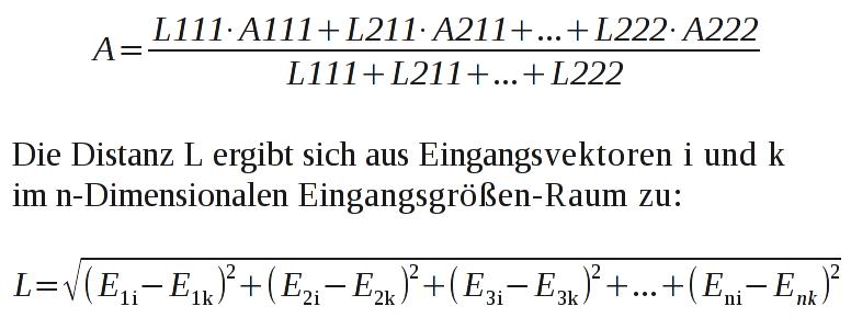 Interpolation eines Ausgangs resultierend aus der Lage des Eingangsvektors relativ zu bekannten Stützstellen.