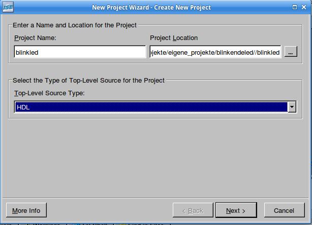 Im Projekt Wizard: Projektname und Quelltextsprache (HDL) festlegen.