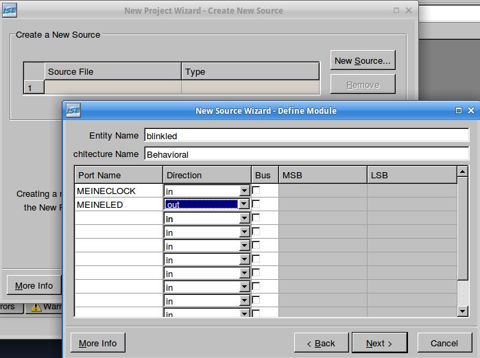 Im Projekt Wizard: VHDL-Quelltextdatei unter Angabe der Ein- und Ausgänge anlegen.