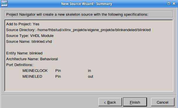 Im Projekt Wizard: Überblick zur automatisch erstellten Quelltextdatei-Vorlage.