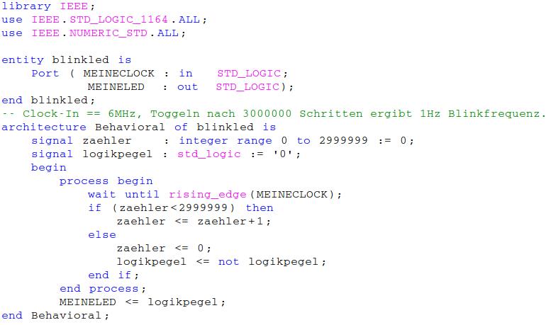 Kodierung der VHDL-Datei: Anpassung der eingefügten Libraries und Vervollständigen der Architektur.