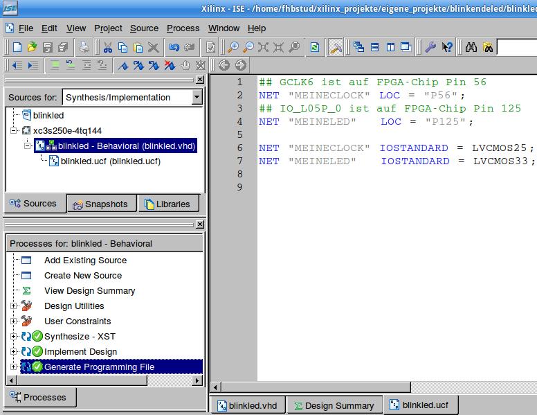 Fertig editierte Datei blinkled.ucf.