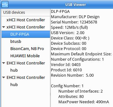 Untersuchung der USB-Verbindung zwischen PC und DLP-FPGA-Board mittels usbview.